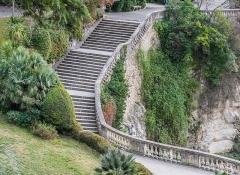 Jardin de la Fontaine - English:  Stairs in Jardins de la Fontaine in Nîmes, Gard, France