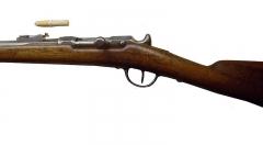 Manufacture d'armes, actuellement Musée de l'automobile - English:  Chassepot single shot rifle