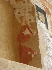 Eglise paroissiale Notre-Dame - Français:   Fresques ornant le mur est de la chapelle Sainte-Anne de l\'église Notre-Dame de Cossé-en-Champagne (53). Sainte reine martyre.