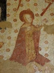 Eglise paroissiale Notre-Dame -  Fresques ornant le mur ouest de la chapelle Sainte-Anne de l'église Notre-Dame de Cossé-en-Champagne (53). Le Jugement dernier. Vierge intercetrice.