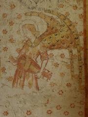 Eglise paroissiale Notre-Dame -  Fresques ornant les voûtes de la chapelle Sainte-Anne de l'église Notre-Dame de Cossé-en-Champagne (53). Partie est. Ange musicien à la vielle à roue.