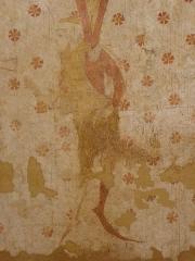Eglise paroissiale Notre-Dame - Français:   Fresques ornant le mur sud de la chapelle Sainte-Anne de l\'église Notre-Dame de Cossé-en-Champagne (53). Soubassement. Homme colonne.