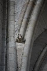 Cathédrale Saint-Julien -  Costale sud de la cinquième travée de la nef de la cathédrale Saint-Julien du Mans (72). Culot à la base d'une des ogives secondaires de la voute.