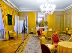 Château des Ducs de Savoie - English:  Inside of the chambre jaune chamber (also called salon jaune) in the château des Ducs de Savoie castle of Chambéry in Savoie, France. In this room was the treaty of union between Savoie and France signed in 1860. At the wall can be seen portraits of Louis Napoléon Bonaparte, emperor of France at that time, and his spouse, Impératrice Eugénie.