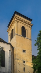 Cathédrale - English:   Bell tower of the Saint Peter cathedral in Annecy, Haute-Savoie, France
