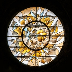 Abbaye de Mélan - English:  Stained-glass window in the Mélan carthusian monastery in Taninges, Haute-Savoie, France