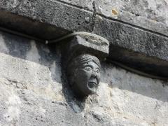 Eglise Saint-Christophe - Français:   Modillon de la façade occidentale, église Saint-Christophe de Vindelle, Charente, France.