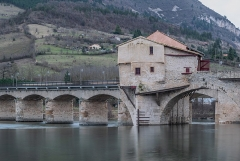 Moulin du pont vieux - English:  Watermill on the old bridge in Millau, Aveyron, France