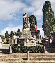 Entrée du cimetière de Terre-Cabade - English:   Terre-Cabade cemetery in Toulouse -  Monument de la Défense de Belfort , to the Haute-Garonne artillerymen, who participated in the famous siege of Belfort