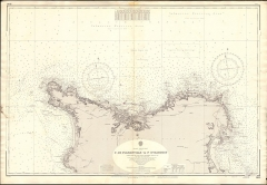 Fortifications des îles Saint-Marcouf - English:   Nautical chart of the coast of Normandy from Cap de Flamanville to Îles Saint-Marcouf, at a scale of 1:72,400. Not current - not to be used for navigation!