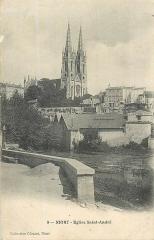 Eglise Saint-André - Français:   Flèches de l\'église Saint-André de Niort. Carte postale ancienne.