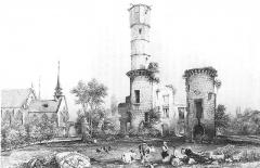 Couvent de la Visitation-Sainte-Marie -  Les ruines du château et de l'église de Folleville, vers 1835