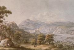 Ancienne abbaye de Saint-Pons, actuellement hôpital Pasteur -  Gravure acquarellée représentant la vallée du Paillon à Nice avec l\'abbaye bénédictine de Saint-Pons et le monastère franciscain de Cimiez.