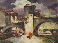 Vieux pont et tour qui le surmonte - Français:   Louis Pastour - Le Vieux Pont de Sospel (Provence). Toile signée en bas à gauche. 35 x 46 cm