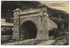 Tunnel de Pau-Canfranc - English:  Entrance to the Somport Tunnel at the Forges d'Abel in 1928