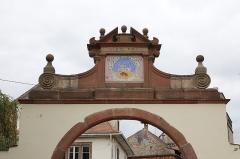 Ancienne église abbatiale Saint-Maurice -  Détail du portail de l'abbaye à Ebersmunster (Bas-Rhin, France).