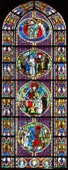 Cathédrale Notre-Dame -  Alsace, Bas-Rhin, Cathédrale Notre-Dame de Strasbourg (PA00085015). Croisillon nord: Verrière romane (XIIe): Jugement de Salomon