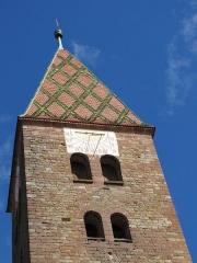 Eglise Saints-Pierre-et-Paul -  Alsace, Bas-Rhin, Wissembourg, Église abbatiale Saints-Pierre-et-Paul (PA00085247, IA67008036): Tour occidentale romane (XIe).