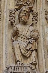 Cathédrale Notre-Dame -  Vue d'un détail du portail du Jugement dernier sur la façade ouest de la cathédrale Notre-Dame de Paris.