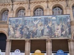 Gare de l'Est - Français:   Le Départ des poilus, août 1914, tableau du peintre américain Albert Herter, à la  gare de l\'Est à Paris.   Le Départ des poilus, août 1914 [1926].