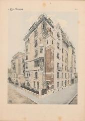 Immeuble dit Castel Béranger -  Hector Guimard, Album Castel Béranger, 1898 - planche n° 1: vue d'ensemble du castel, aquarelle reproduite par héliogravure.