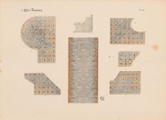 Immeuble dit Castel Béranger -  Hector Guimard, Album Castel Béranger, 1898 - planche n° 28: dessins d'un tapis d'escalier et de mosaïques au sol.