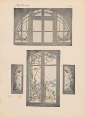 Immeuble dit Castel Béranger -  Hector Guimard, Album Castel Béranger, 1898 - planche n° 48: vitraux.