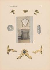 Immeuble dit Castel Béranger -  Hector Guimard, Album Castel Béranger, 1898 - planche n° 59: photo d'un meuble de toilette et détails de ferronnerie.