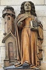 Eglise Saint-Sauveur - Français:   Statue de sainte Barbe de l\'église Saint-Sauveur d\'Ham-en-Artois, Pas-de-Calais, France; statue de sainte Barbe.