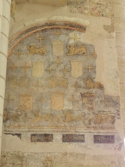 Ancienne abbaye royale de Fontevraud, actuellement centre culturel de l'Ouest - Français:   Peintures murales de la nef de l\'abbatiale de Fontevraud (49) faisant partie de la présentation des gisants des Plantagenêts sous l\'Ancien Régime.