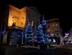 Théâtre municipal - English:  Sight, by night, of Christmas trees in front of Chambéry theater, in Savoie, France.