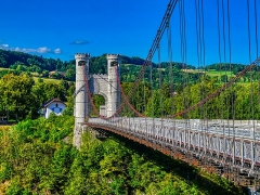 Pont suspendu de la Caille (également sur commune de Cruseilles) - Deutsch:  Caille-Brücke, Allonzier-la-Caille, Département Ober-Savoyen, Region Auvergne-Rhône-Alpes (ehemals Rhône-Alpes), Frankreich