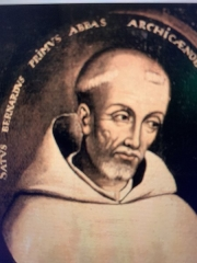 Ancienne abbaye de Clairvaux - English:   Photo of painting of Bernard de Clairvaux in monastery Vyssi Brod.