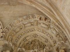 Eglise Saint-Seurin - Français:   Portail sud de la basilique Saint-Seurin de Bordeaux. Arcature aveugle droite. Détail. Tympan et voussures.