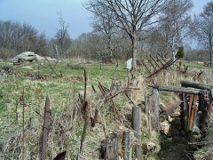 Champ de bataille de l'Hartmannswillerkopf dans la forêt communale (également sur communes de Hartmannswiller, Soultz-Haut-Rhin, Wattwiller et Wuenheim) - English:   Hartmannswillerkopf battle field (WWI), french trench and german \