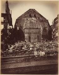 Théâtre de la Porte-Saint-Martin - English:   Les Ruines de Paris et de ses Environs 1870-1871: Cent Photographies: Premier Volume. Par A. Liébert, text par Alfred d'Aunay. Author: Alfred d'Aunay (French) Date: 1870–71 Medium: Albumen silver prints from glass negatives Dimensions: Images approx.: 19 x 25 cm (7 1/2 x 9 13/16 in.), or the reverse Mounts: 32.8 x 41.3 cm (12 15/16 x 16 1/4 in.), or the reverse Classification: Albums Credit Line: Joyce F. Menschel Photography Library Fund, 2007 Accession Number: 2007.454.1.1–.33