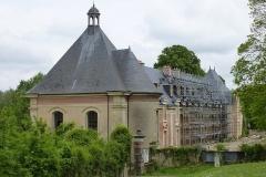Château - Français:   Château de Montceaux, communs en restauration (2014). (Montceaux-lès-Meaux, Seine-et-Marne, région Île-de-France).