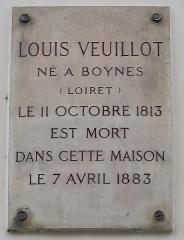 Collège Stanislas - Français:   Plaque en hommage à Louis Veuillot, 21 rue de Varenne (Paris, 7e).