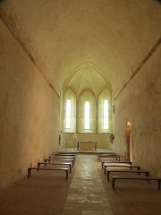 Ancien prieuré grandmontain de Fontblanche - Deutsch:   Grandmontine Priory Fontblanche, comm. Genouilly, Département Cher, France, interior of the church, view eastward