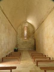 Ancien prieuré grandmontain de Fontblanche - Deutsch:   Grandmontine Priory Fontblanche, comm. Genouilly, Département Cher, France, interior of church, view westward
