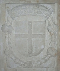 Château du Grand Pressigny - Français:   Blason de la famille Savoie-Villard sur la voûte d'une des salles du rez-de-chaussée du château du Grand-Pressigny, Indre-et-Loire, Centre, France.