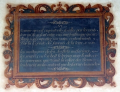 Couvent des Capucins - Français:   Peinture murale, tableau orné de sentence.