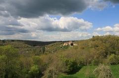 Château de Crozant - Français:   Vue du bourg de Glénic, Creuse