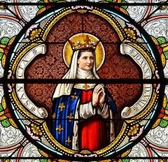 Eglise Saint-Junien de Vaussais - Français:   Détail de la rosace de sainte Jeanne de Valois (années 1880); église de Sauzé-Vaussais, Deux-Sèvres, France.
