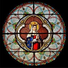 Eglise Saint-Junien de Vaussais - Français:   Rosace de sainte Jeanne de Valois; église de Sauzé-Vaussais, Deux-Sèvres, France.