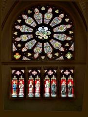 Abbaye - Français:   Rosace et vitraux de l\'abside sud de l\'église de Remiremont. Vosges