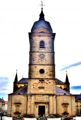 Abbaye - Français:   Porche et clocher de l\'église de Remiremont.Vosges