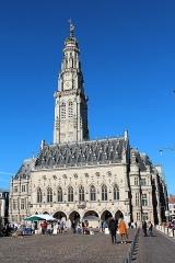 Hôtel de ville - Français:   Le beffroi d'Arras et l'hôtel de ville d'Arras, place des Héros, monuments des XVe et XVIe siècles, reconstruits au XIXe siècle, détruits en 1914 et une nouvelle fois reconstruits à l'identique après la première guerre mondiale.