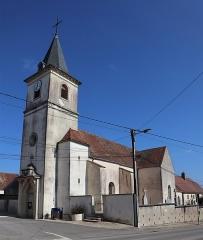 Eglise - Français:   Façade occidentale et flanc sud de l'église Saint-Denis à Binges (21).