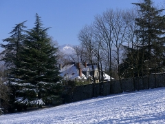 Domaine de Vidonne - English:   Sight of snow-covered Domaine de Vidonne historical monument, on the heights of Chambéry, Savoie, France.